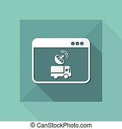 -, vecteur, icône ordinateur, application, satellite, camion, plat, contrôle