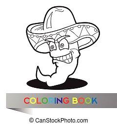 -, vecteur, mexicain, livre, thème, illustration, coloration