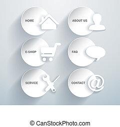 -, vecteur, papier, 10, options, articles, navigation, ...