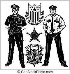 -, vecteur, police, isolé, blanc, set., officier, homme