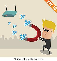 -, vecteur, réseau, pirate informatique, sans fil, eps10, illustration