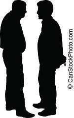 -, vecteur, silhouette, amis
