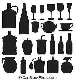-, vecteur, silhouette, bouteille, collection