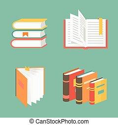 -, vecteur, symboles, icônes, livre, education, concepts