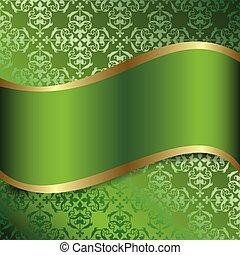 -, vecteur, vert, ruban, décoratif, ondulé, fond