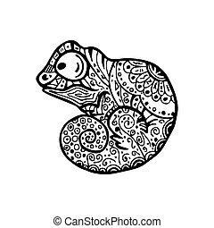 -, vecteur, zendala, adultes, conception, griffonnage, relaxation, coloration, caméléon, page, illustration, pattern.