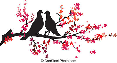 -,  vector, árbol, Aves