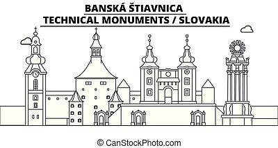 -, vector., 有名, パノラマ, stiavnica, ランドマーク, banska, 旅行, 線である, イラスト, スカイライン, スロバキア
