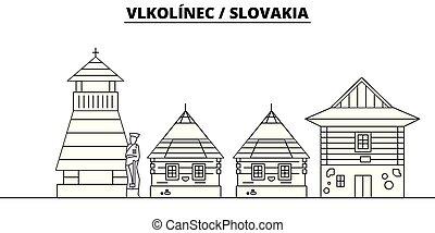 -, vector., 有名, vlkolinec, パノラマ, ランドマーク, 旅行, 線である, イラスト, スカイライン, スロバキア
