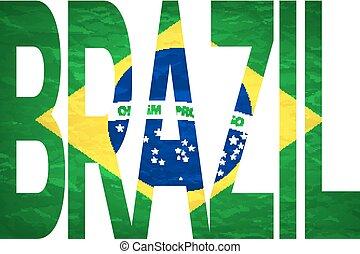 -, vector, 2014, braziliaans, brieven, brasil, vlag