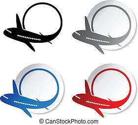 -, vector, advertentie, cirkel, stickers, bellen, vliegtuig