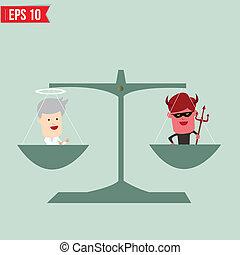 -, vector, balance, bueno, eps10, malo, ilustración, ...