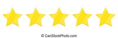 -, vector., cinque, stella, valutazione, icona
