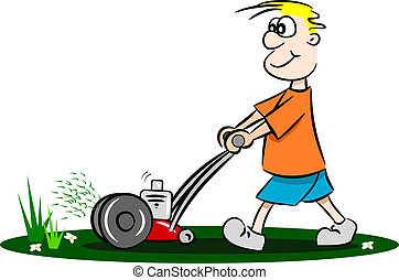 Cartoon Lawn Mower Holding Lawn Maintenance Tools Stock Photo - Alamy