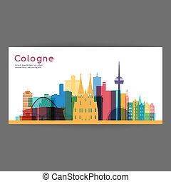?????? - Cologne colorful architecture vector illustration,...