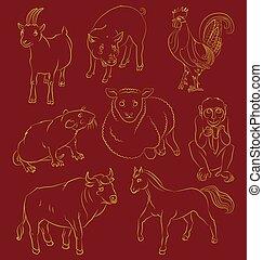 Bull-cock-goat-horse-monkey-pig-rat-sheep