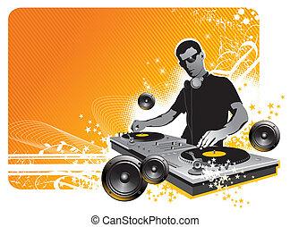 -, vector, dj, ilustración