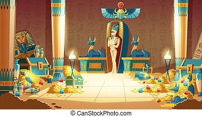-, vector, egipcio, sarcófago, pyramid., faraón, caricatura...
