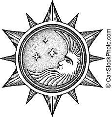 -, vector, estilizado, grabado, estrellas, luna, ilustración