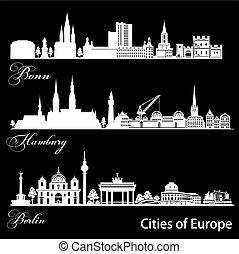 -, vector, europa, berlin., bonn, detallado, architecture., ...