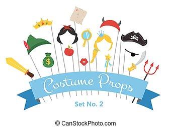-, vector, feestje, prins, set, prinsesje, photobooth, pruiken, voorwerpen, rekwisieten, mustaches