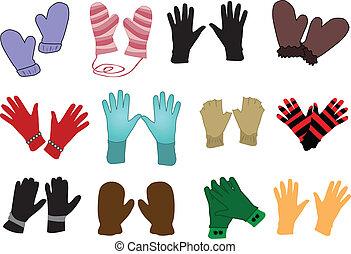 -, vector, handschoenen