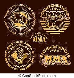 -, vector, insignias, artes, mezclado, marcial, emblema, mma...