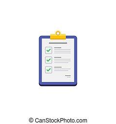 -, vector, isolated., blanco, lista de verificación, plano ...