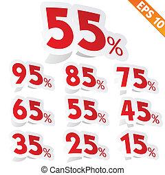 -, vector, label, eps10, sticker, procent, illustratie, verkoop