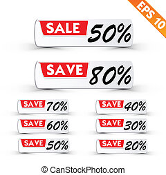 -, vector, label, prijs, eps10, sticker, procent, illustratie, verkoop