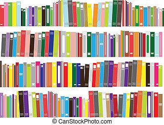 -, vector, libros, ilustración