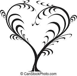 -, vector, liefde, boompje