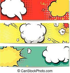 -, vector, ontploffing, bel, komieken, web, set, komisch, spandoek, header, illustratie, achtergrond.