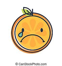 -, vector., orange., aislado, llanto, lágrimas, emoji