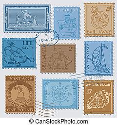 -, vector, plakboek, postzegels, kwaliteit, hoog, vastgesteld ontwerp, retro, zee, post
