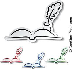 -, vector, plumas, libro, comunicación, iconos