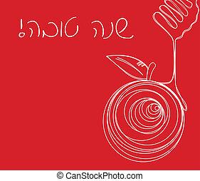 -, vector, rosh, ilustración, hashana