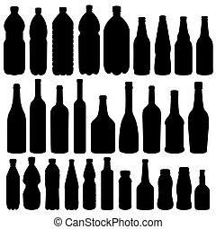 -, vector, silhouette, fles, verzameling