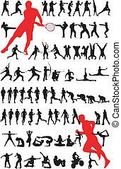 -, vector, silhouette, sportende