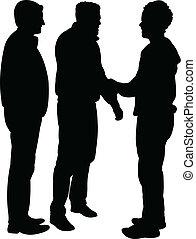 -, vector, silhouette, vrienden