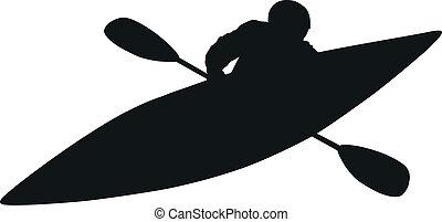 -, vector, silueta, kayaker