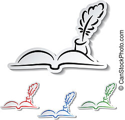 -, vector, veertjes, boek, communicatie, iconen