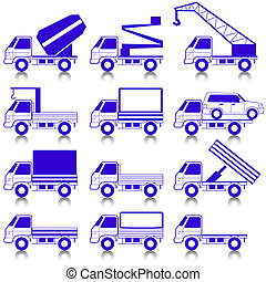 -, vector, vervoer, iconen, set, symbols.
