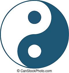 -, vector, yin, yan, símbolo