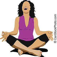 -, vector, yoga, poster, pose
