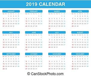 Calendario Del Año 2019 El Calendario Del Año 2019 Con Todos Los Meses Canstock