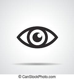 -, vektor, ábra, ikon, szem