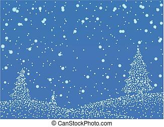 -, vektor, abstrack, háttér, hó, kék, tél, ábra