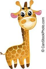 -, vektor, apró, csecsemő, giraffe., lágy