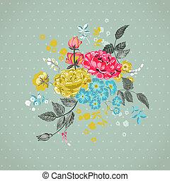 -, vektor, bakgrund, blommig, urklippsalbum, design